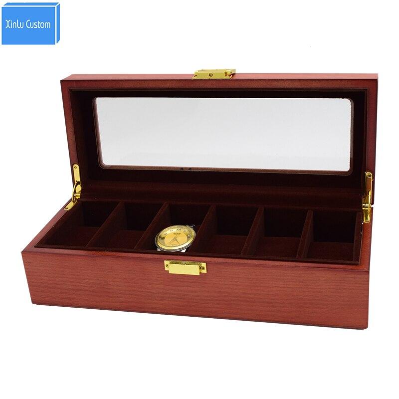6 fentes en bois massif boîte de montre Kol Saati caja reloj montre organisateur boîtier Cajas de Regalo caixa para relogio cadeau montres titulaire