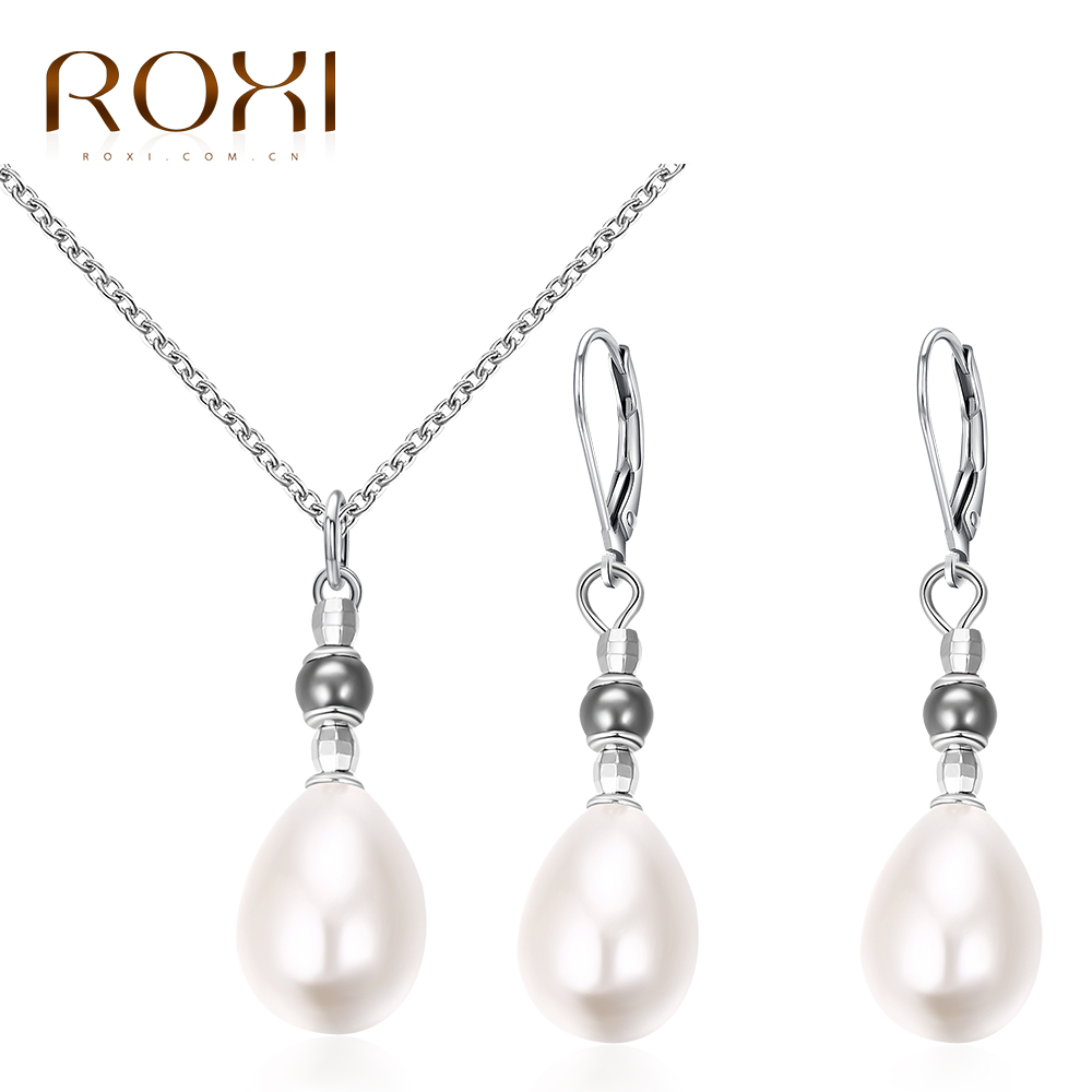 ROXI Charm Jewelry Set for Women White Cream Imitation Pearls Long NecklaceStud Earrings for Mother's Gift Luxury Jewellery