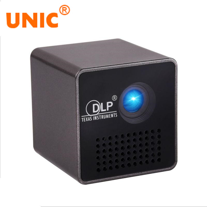 UNIC P1 Micro LED Projector Beamer 15 Lumens Projector Built-in Battery DLP Home Movie Theater  Video Game Proyector 640*360 ls1280 entertainment home theater projector hybrid laser led led lights high lumens beamer home cinema 23 languages pk xgimi