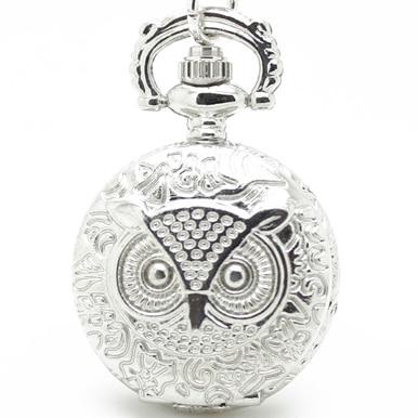 3002) 12 шт/лот стимпанк винтажные резные карманные часы с совой цепочкой ожерелье Кулон диаметр 2,7 см Хэллоуин Рождественские вечерние подарки - Цвет: Silver
