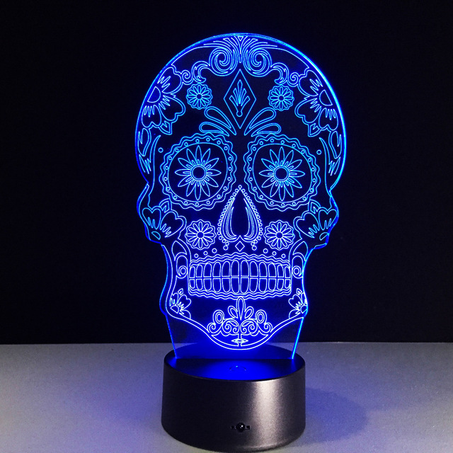 7 COLORS CHANGE 3D SUGAR SKULL LED LAMP