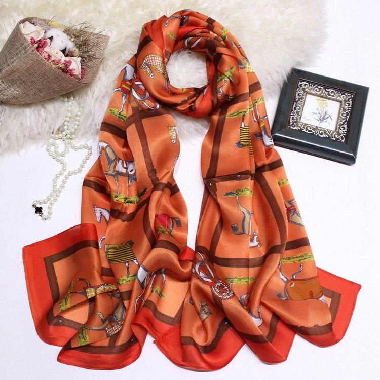 Horse Style Orange Girl Scarf Natural Silk Choker Lady Beauty Women's Long Scarves Neck Wear Wraps Drop Shipping KZSCJ47