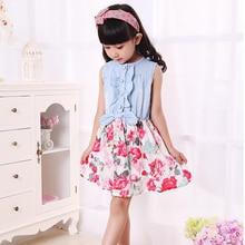 Kids Girls Princess Demin Belt Flower Dresses Party Tutu Dress One-pie Baby Clothes TZ2047