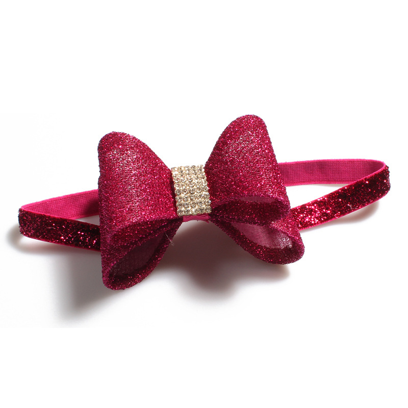 Fuchsia bling Bow Headband Ribbon Bow Hair Accessories Rhinestone Bow Headband Set Grils gift 7PCS/LOT