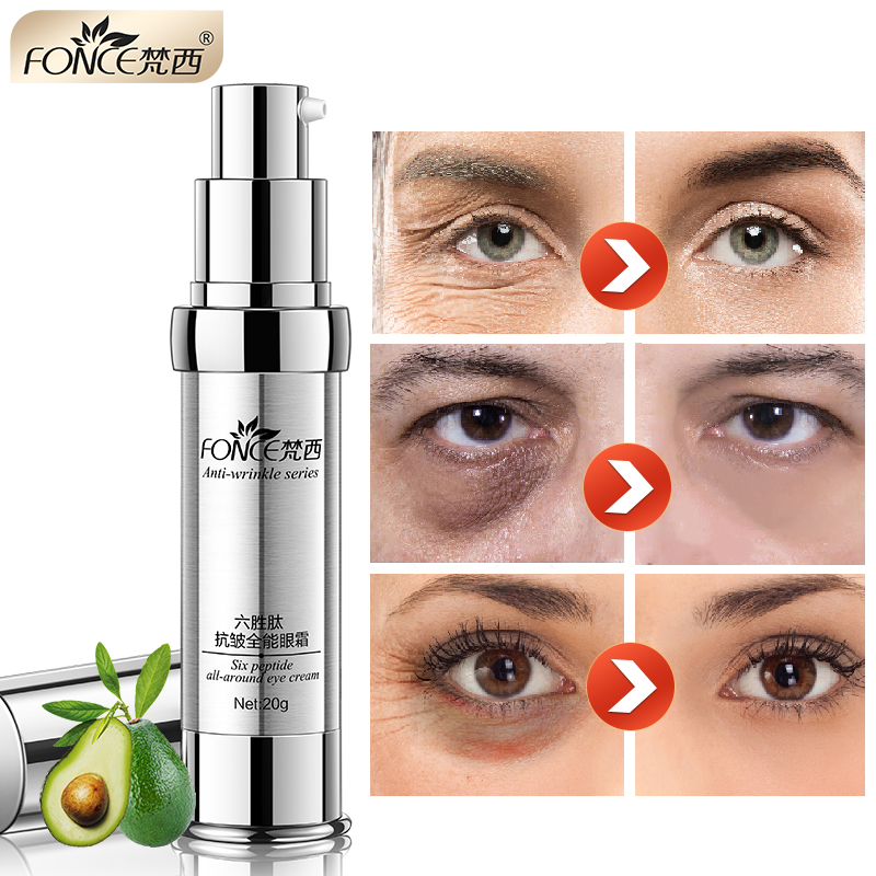 Korean Skin Care Anti Wrinkle Eye Cream Six Peptides Serum Anti Aging Remover Dark Circle Bag Firming Nourish Eye Balm Mask 20g