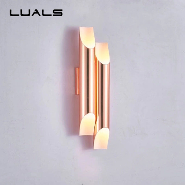Simple Modern Led Wall Light Metal Plating Wall Lamp Creative Hotel Wall  Lamps For Living Room
