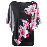 LANGSTAR 2018 New Plus Size 5XL Overlay Floral Print Chiffon T Shirt Women Summer Loose Ruffle