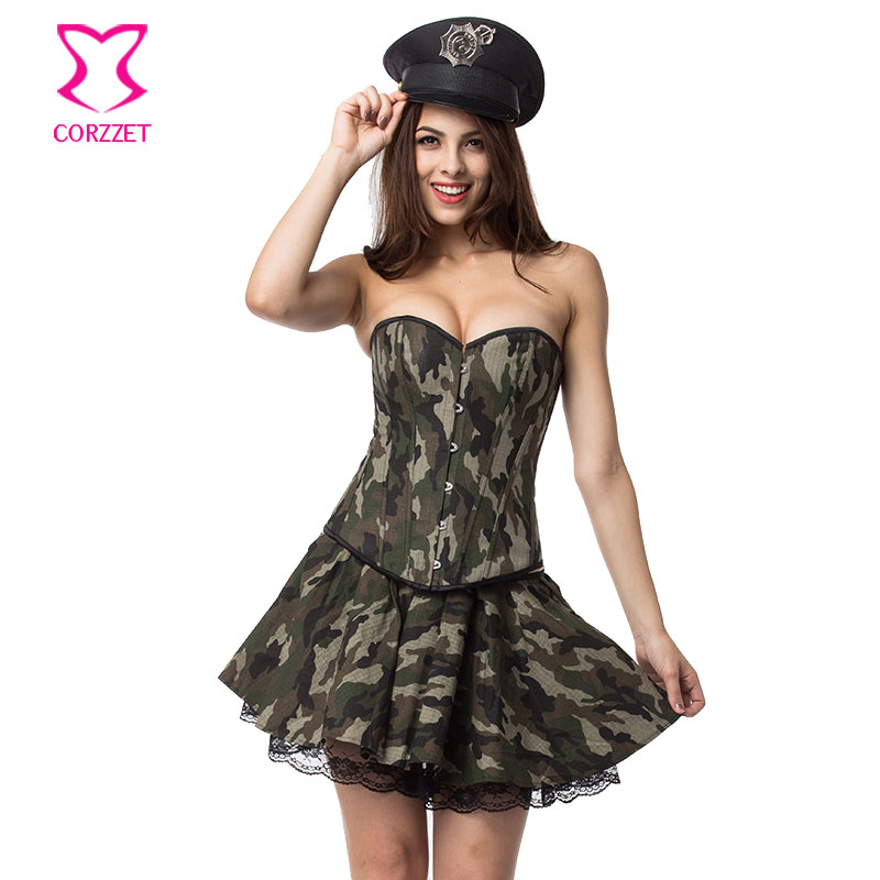 Miss Lady Camouflage Army Corset Dress Sexy Cosplay Military Costume