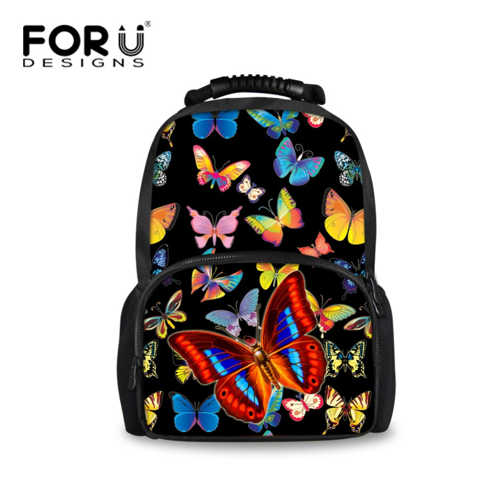 Forudesigns Pretty Printing Butterfly Backpack For Teens Girls Polyester Women Travel Backbag Primary Middle School Kids Bagpack