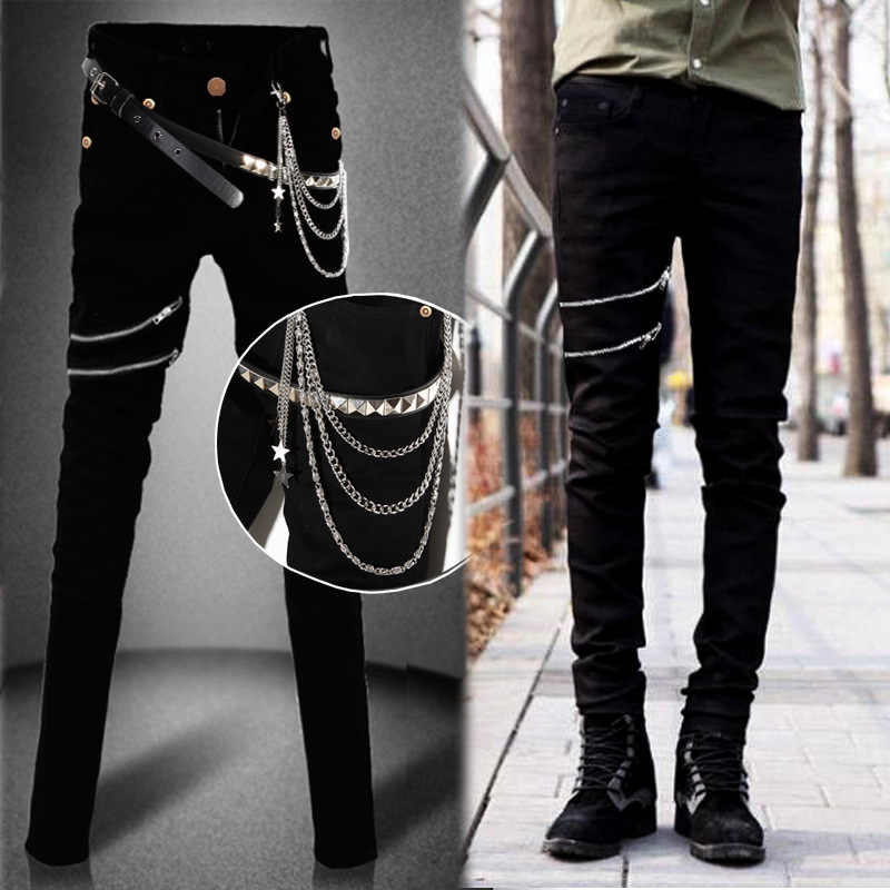 8ff2658c788 Idopy Fashion Slim Fit Denim Pants Punk Style High Elastic Stretchy Zippers  Gothic Button Jeans Trouser