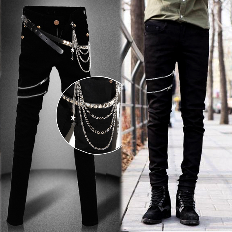 Idopy Fashion Slim Fit Denim Pants Punk Style High Elastic Stretchy Zippers Gothic Button Jeans Trouser For Men With Chain aboorun new mens pu patchwork slim fit jeans fashion skull rivet pencil denim pants with zippers for men b052