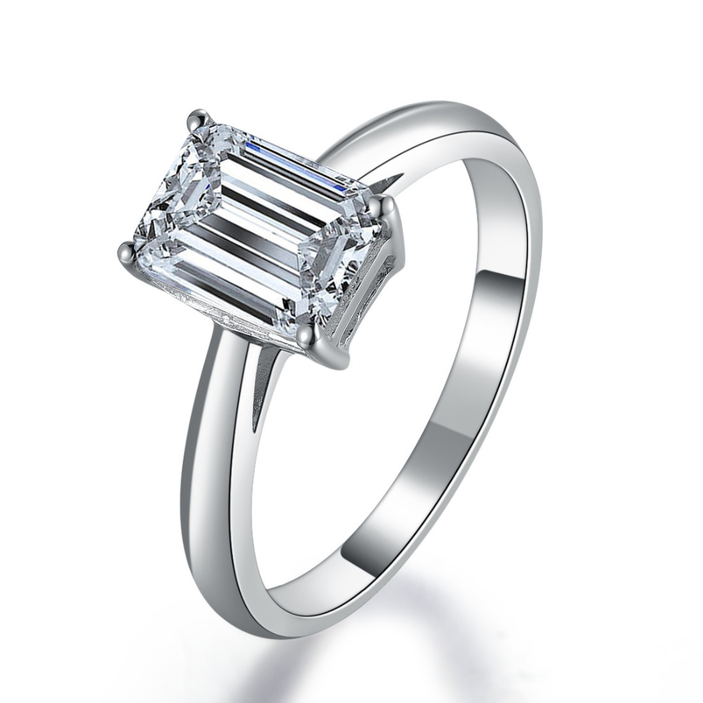 1ct Emerald Cut Synthetic Diamonds Engagement Solitaire Ring For Her Solid  925 Sterling Silver Ring White