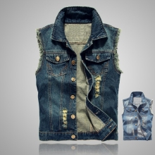 b Spring Autumn Denim Vest Mens Jackets Sleeveless black Outerwear mens denim Coats jackets Tank Top Cowboy Man Ripped vest