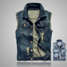 b Spring Autumn Denim Vest Mens Jackets Sleeveless black Outerwear mens denim Coats jackets Tank Top Cowboy Man Ripped vest цена