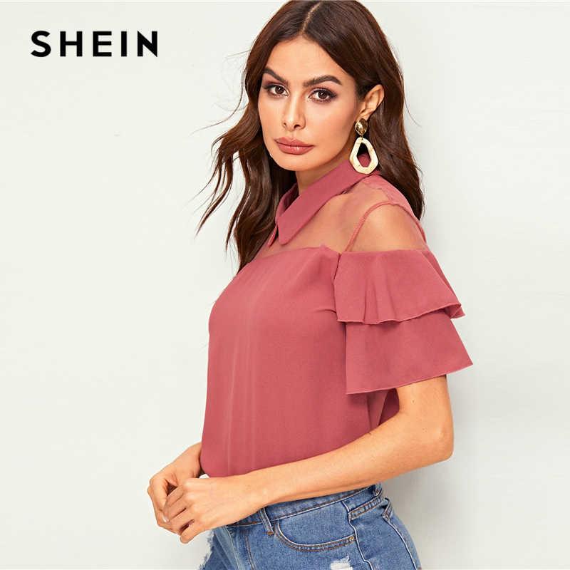 SHEIN розовая однотонная контрастная сетчатая вставка с оборками Элегантная блузка Топ для женщин 2019 летние многоуровневые рукава основы повседневные женские блузки