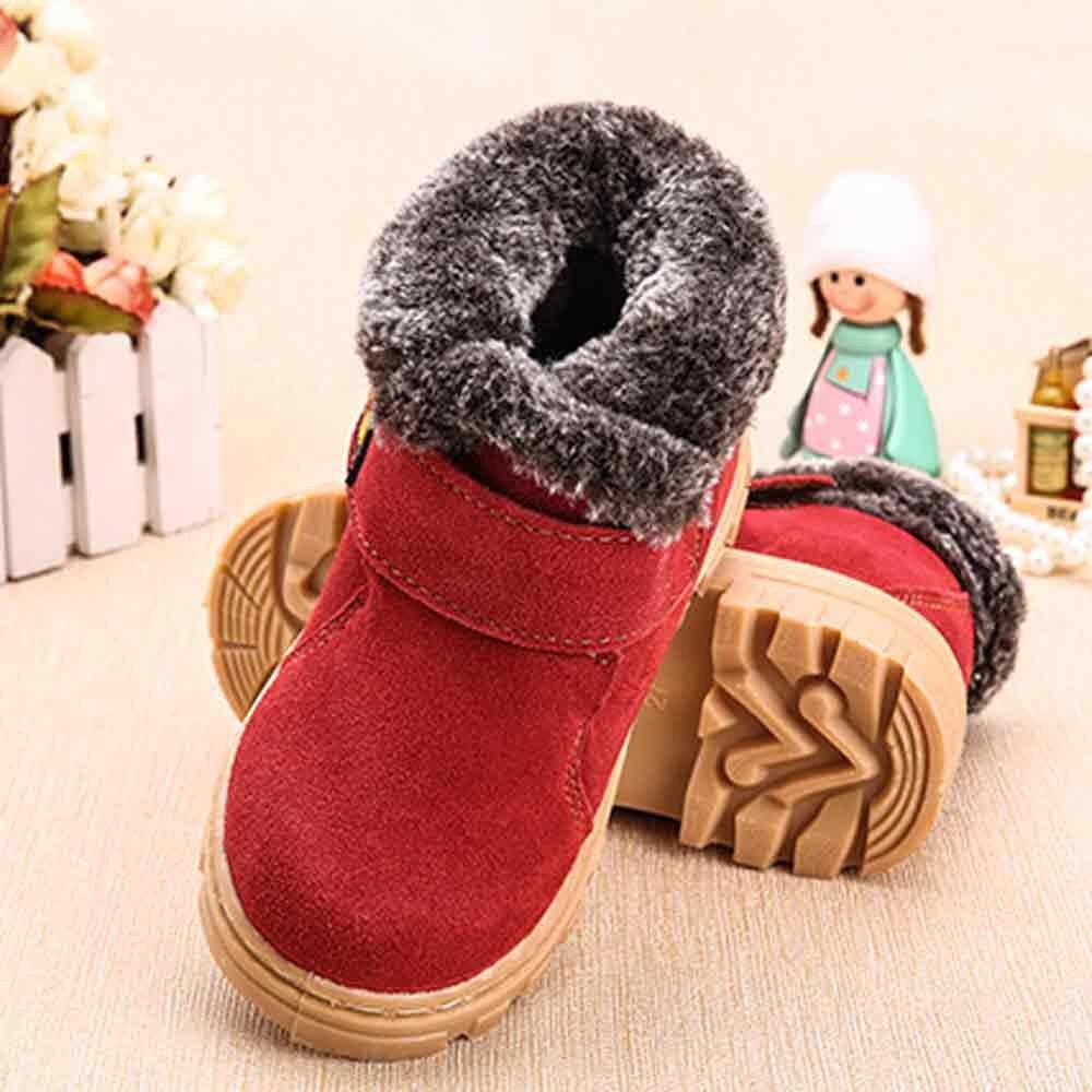 Children Girls Boys Shoes Leather Fur Martin Sneaker Kids Warm Winter Snow Boots Child Booties Baby Toddler Shoe Anti-Slip BFOF