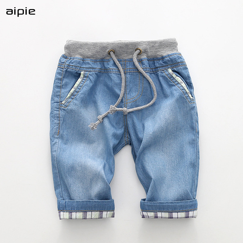 New Boy's Shorts Casual Fashion Solid Color Cotton 100% Thin Denim Fabric Children Shorts Clothing For 2-7 Years
