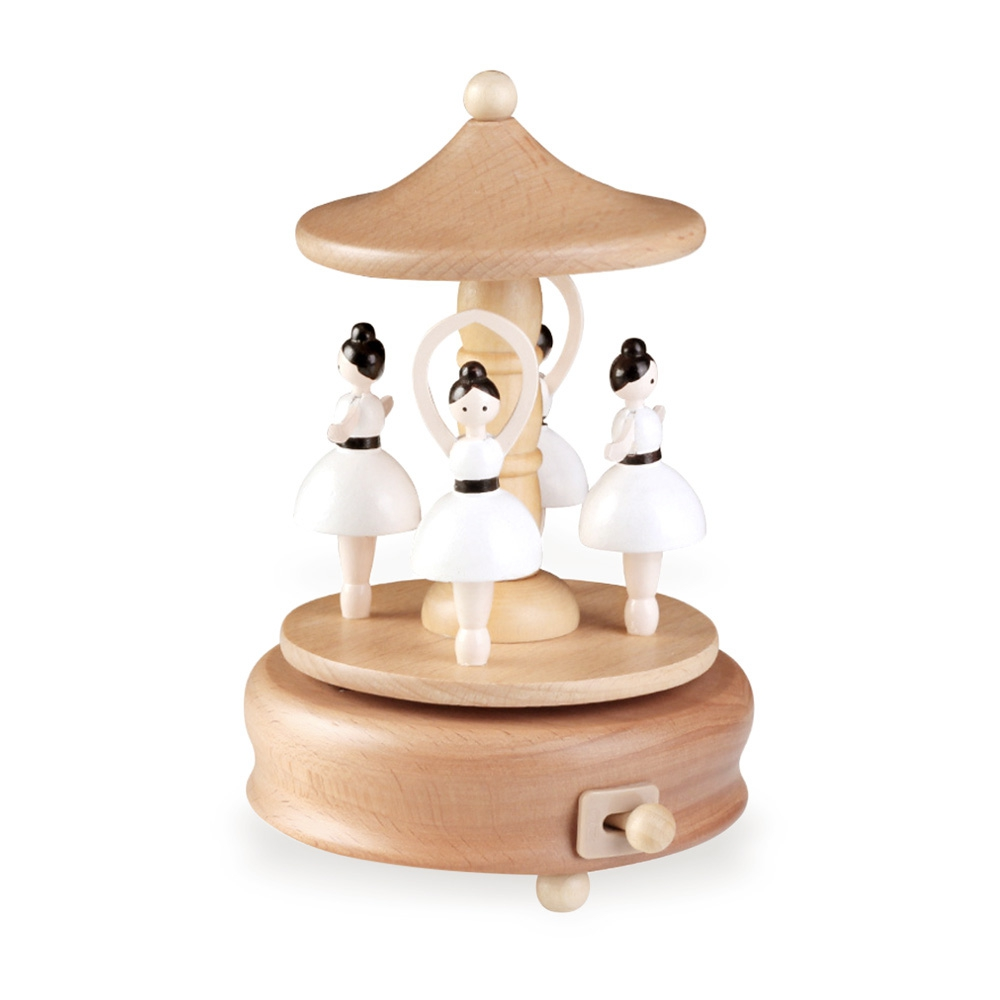 Rotatable Ballerina Wooden Music Box Toy Decoration Christmas Gift Wood Crafts Retro Birthday Gift Home Decoration Accessories