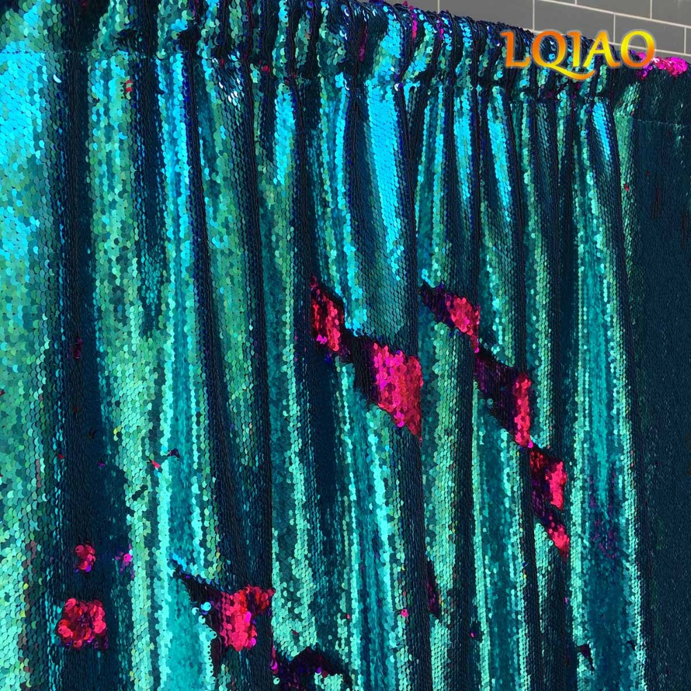 Réversible Turquoise et Fuchsia Toile De Fond De Paillettes Curtain-4ftx6ft, Sirène Poissons Échelle Sequin Photographie pour la Décoration De Mariage