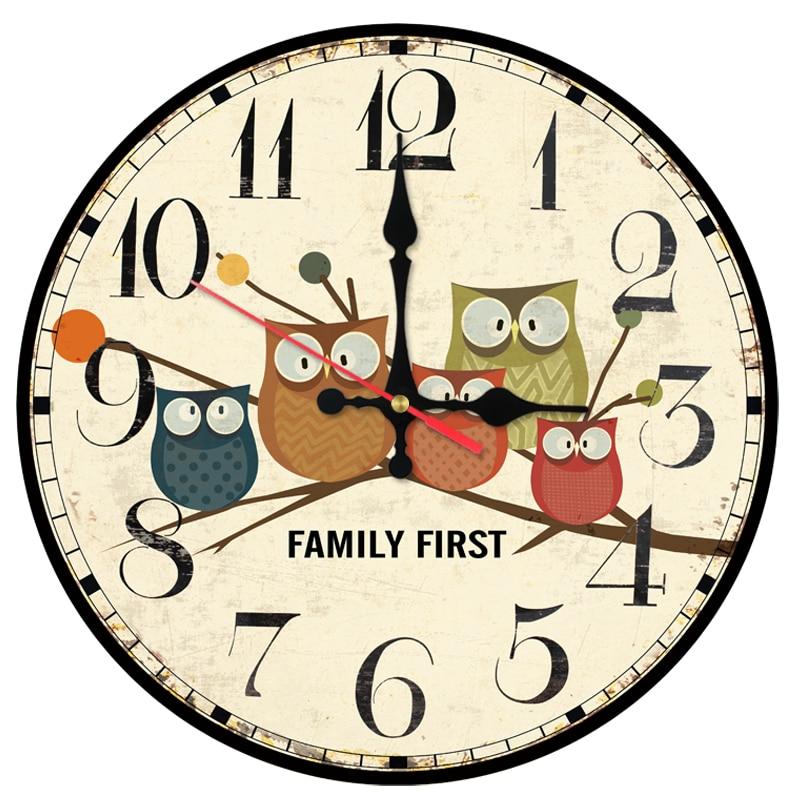 speciální nabídka nástěnné hodiny dřevěné kávové hodiny Quartz hodinky moderní domácí výzdoba kruh jediná tvář kreslené samolepky do obývacího pokoje