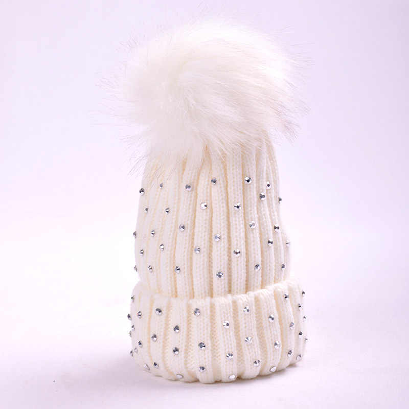 3b2a34729 Big Pompom Baby Hat Winter New Warm Knitted Baby Girl Hat Cap Bonnet Enfant  Newborn Hat Crochet Ball Beanie Kids Hats