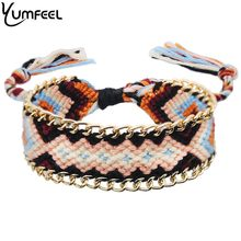 Yumfeel 2019 New Handmade 12 colors Bohemian Bracelet Cotton Thread Tassel Bracelet & Anklet Women Beach Jewelry Gifts Fashion(China)