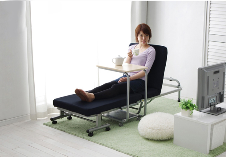 Japanese Modern Lazy Metal Folding Bed With Mattress