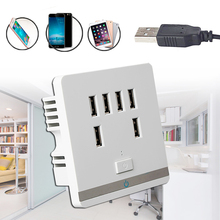 3.4A 6 Port USB Wall Charger Outlet Power Receptacle Socket Plate Panel Switch 6 port usb wall charging socket uk standard wall charger outlet power adapter faceplate socket plate panel