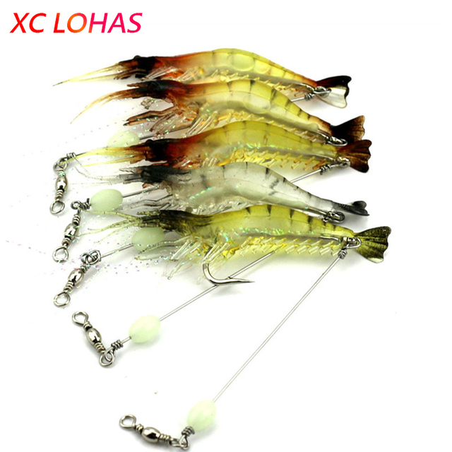 Night Luminous Artificial Shrimp Lures Soft Lure Bait with Long Stainless Steel Wire Barrel Swivel Lure Connector for Fishing