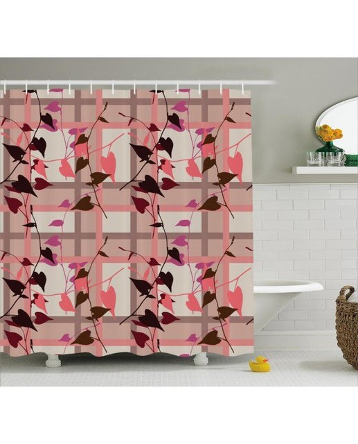 Coral Shower Curtain Heart Shaped Leaves Print For Bathroom Waterproof And Fabric Romantic