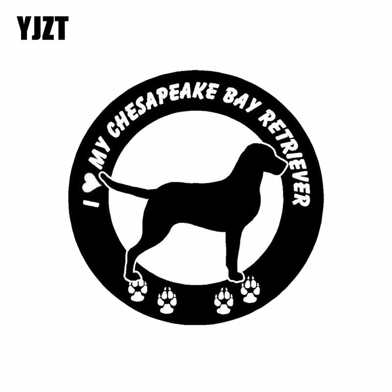 YJZT 15CM*15CM I Love My Chesapeake Bay Retriever Dog Car