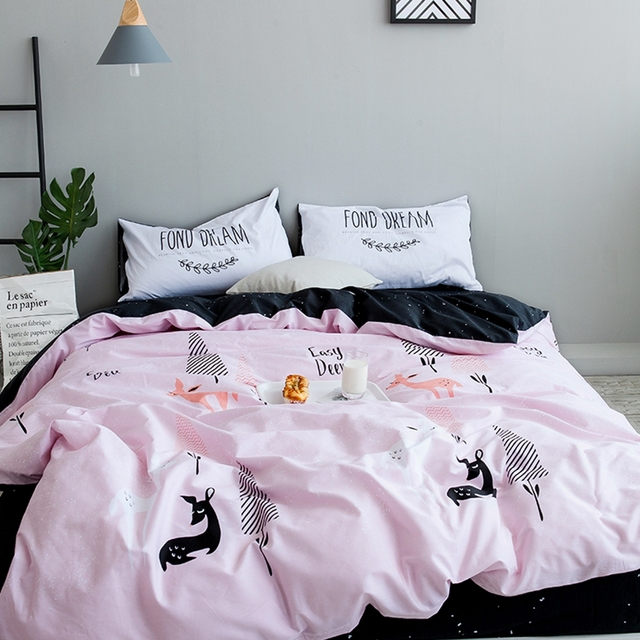 Pink Christmas Deer Duvet Cover Set Queen Size Bedding Sets For