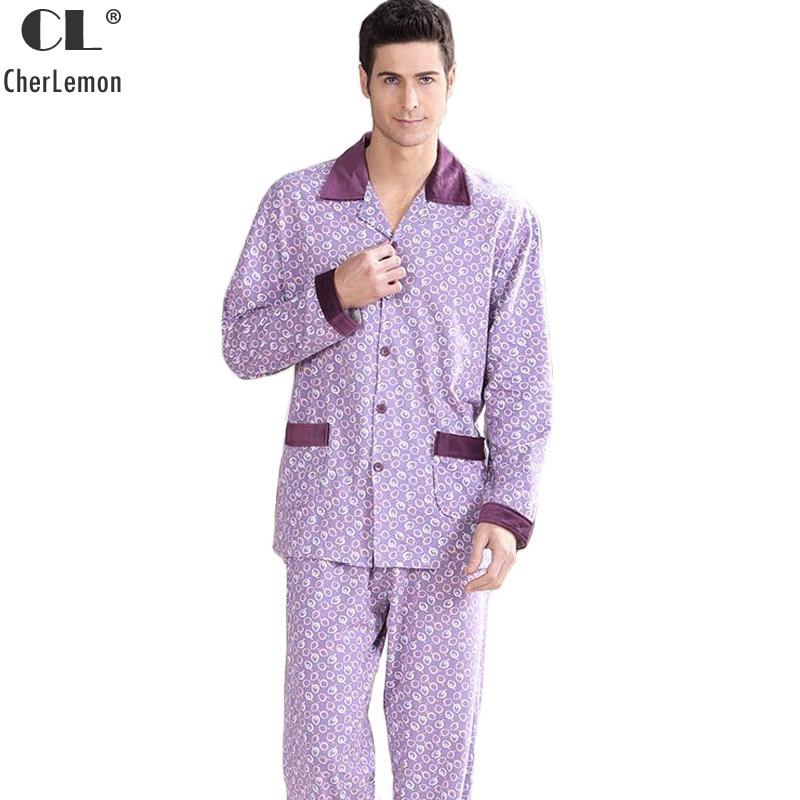 CherLemon New Autumn Men's 100% Cotton Pyjamas Sleepwear Male Purple Circles Printed Long Sleeve Top And Pants Pajama Set M-4XL