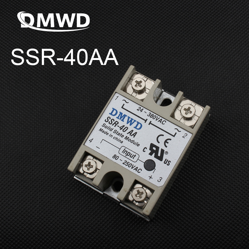 цена на 1pcs Free shipping solid state relay SSR-40AA 40A actually 80-250V AC TO 24-380V AC SSR 40AA relay solid state