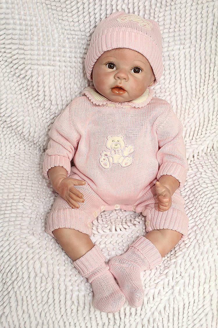 "Pursue 22""/55 cm Brown Eyes Real Baby Alive Silicone Reborn Dolls for Sale Lifelike Newborn Baby Doll for Girl Boy Gift Doll Toy"