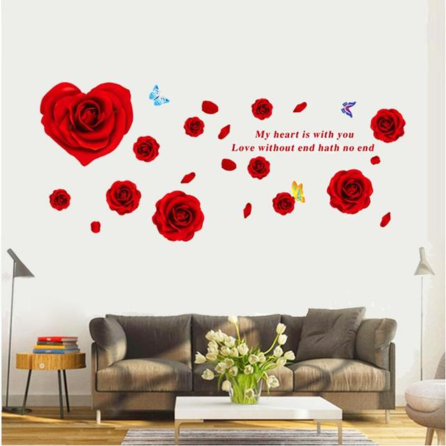 Hot sell rose flowers wall stickers tv background room decorations 9181 diy home decals removable