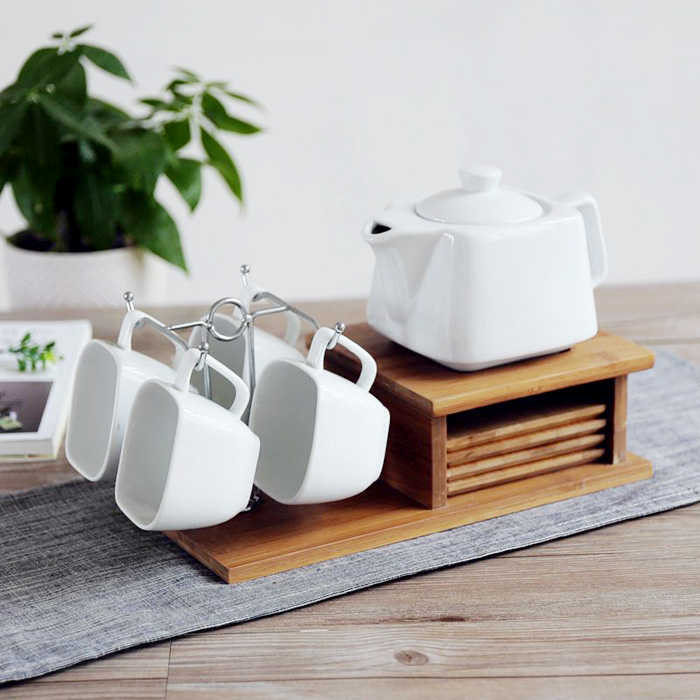 Geometric White Ceramic Porcelain Brief Coffee Tea Cups With Handgrip Bamboo Saucers Stainless Steel Stand Milk