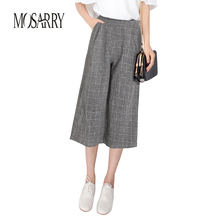 Women Plaid Pants Spring Thin High Waist Loose Wide Leg Pants Pantalones Mujer Casual 2017 New Cool Ladies Plaid Trousers Summer