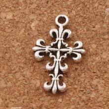 Filigree Flower Cross Charm Beads 35pcs Antique Silver Pendants Fashion Jewelry DIY L414 22.8x14mm