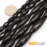 Olivary Faceted AA Grade Black Agate Beads Natural Stone Bead DIY Bead For Fashion Jewelry Making