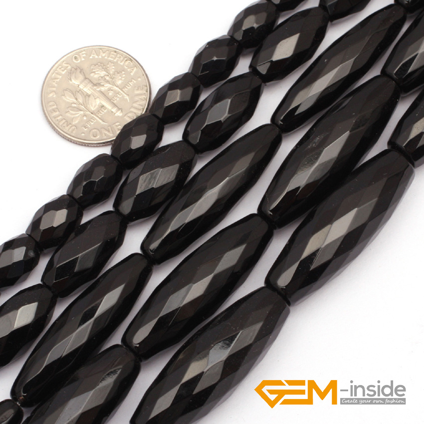 "Olivary Rice Faceted AA Grade Black Agat Beads Natural Stone Bead DIY Loose Bead For Jewelry Making Strand 15"" Wholesale !"