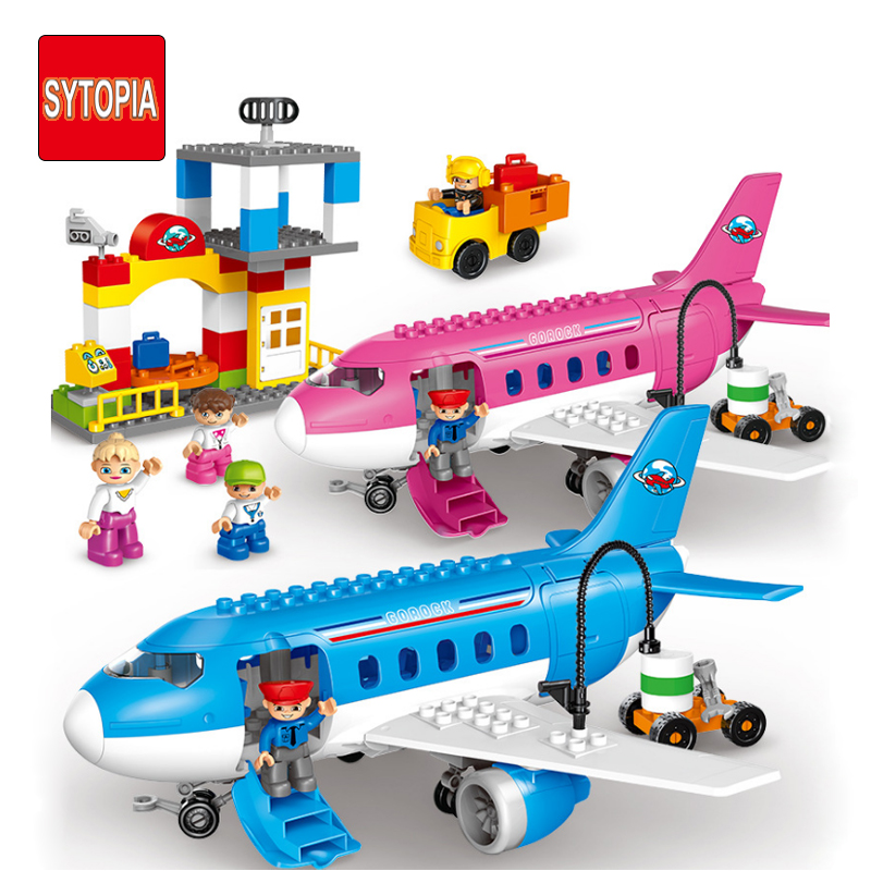 Sytopia Super Airport Mini City Children Building Blocks Big Size Educational Toy For Baby Kid Gift Toy Compatible With Duploe sytopia fire station fire police children building blocks big size educational toy for baby kid gift toy compatible with duploe