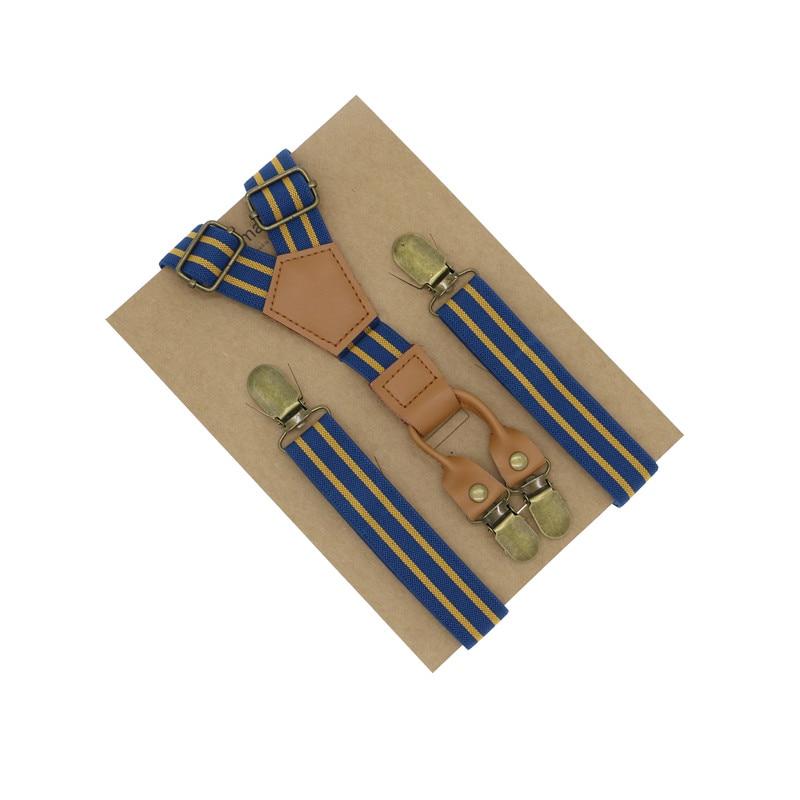 British Striped Pattern Brown Genuine Leather unisex men women shirt suspender summer fashion use 4 clips Y back