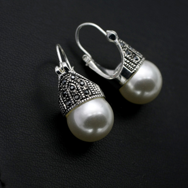 Top Quality Vintage Mosaic Cubic Zircon Pearl Earrings Antique Silver Plated Drop For Women Fashion