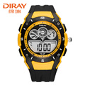 DIRAY 2016 New Dual Display Wristwatches Mens Big Dial Led Electronic Watch 2 Time Zone Multi Functional Quartz Men Watches