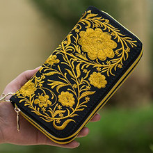 Double Zipper National Boho Indian Thai Embroidered Wallet Clutch Bag Floral Long Design Canvas National Trend Purse Card Holder(China)
