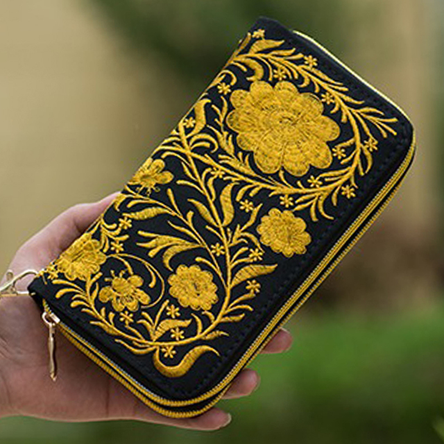 Double Zipper National Boho Indian Thai Embroidered Wallet Clutch Bag Floral Long Design Canvas National Trend Purse Card Holder