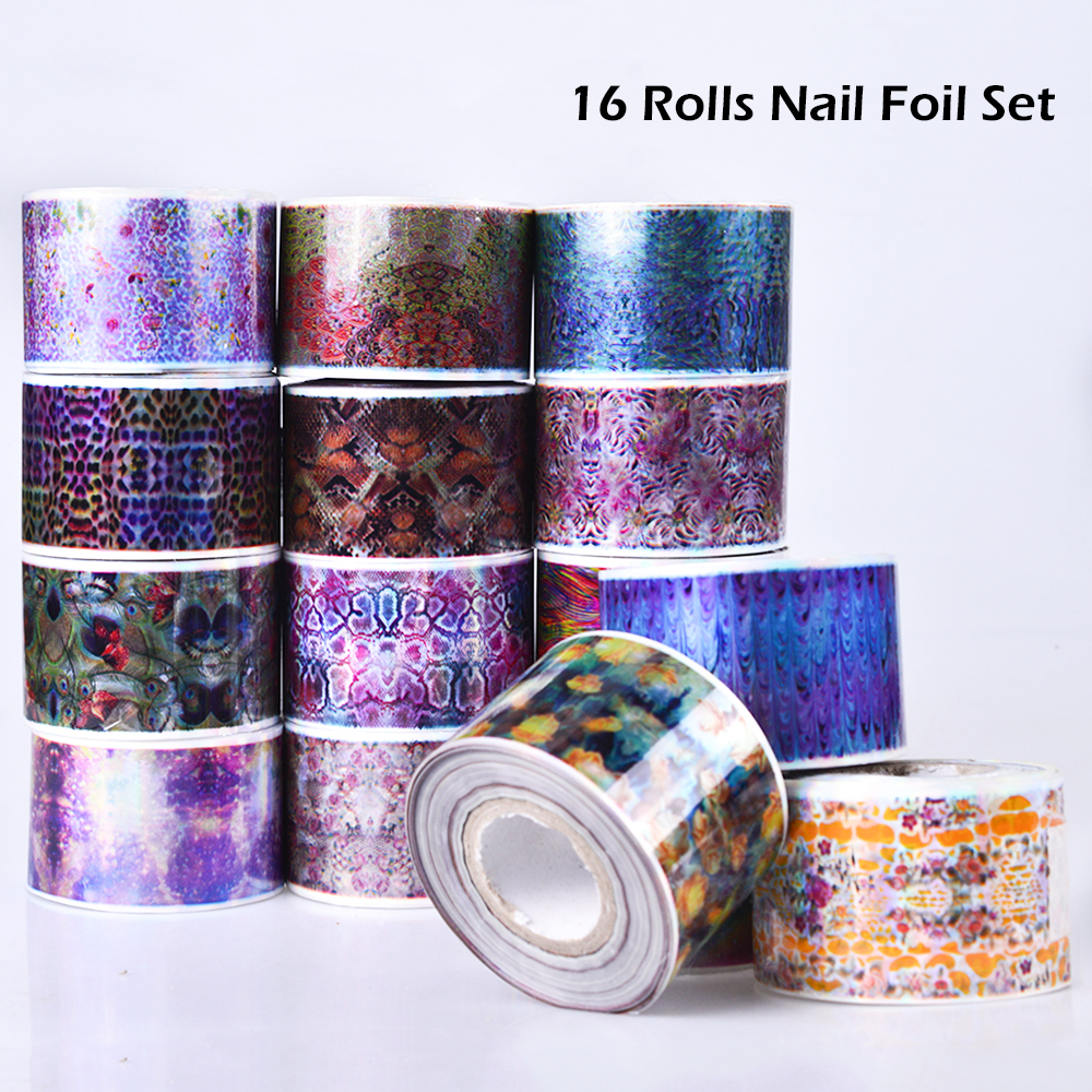 цена на 16 Rolls Nail Foil Nail Art Transfer Sticker Manicure Tips Decoration Paper  Colorful Flower For Polish Glue Accessories SA600