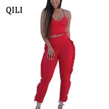 a375e75d5c0 QILI Women Ruffles Jumpsuits Romper Summer Sleeveless Two Piece Set Casual  Jumpsuit Woman Fashion Street Wear
