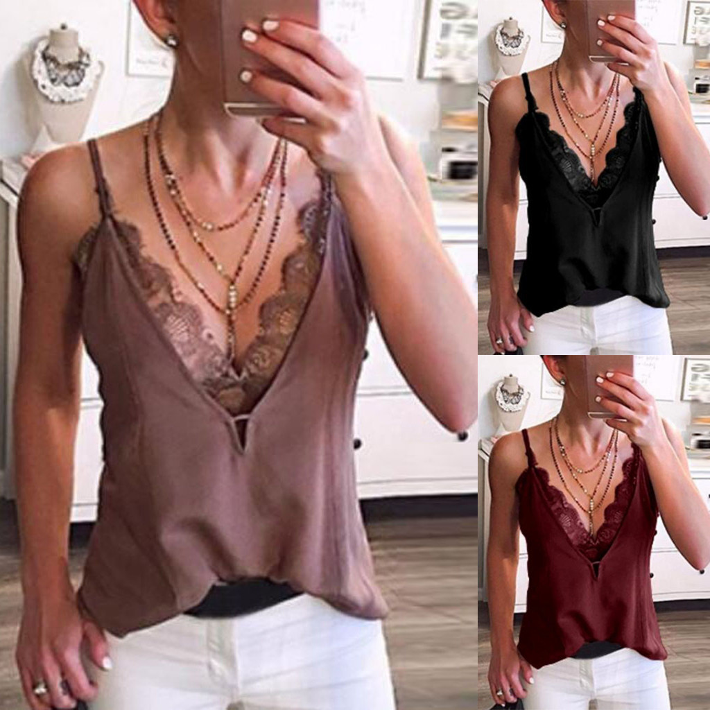 Women Sexy V Neck Lace Patchwork Strappy Sleeveless Casual Camis Vest   Tank     Tops